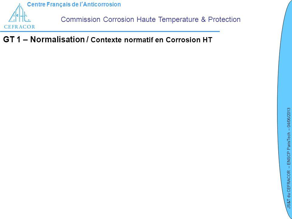 GT 1 – Normalisation / Contexte normatif en Corrosion HT