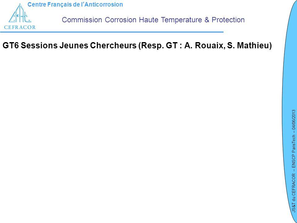 GT6 Sessions Jeunes Chercheurs (Resp. GT : A. Rouaix, S. Mathieu)