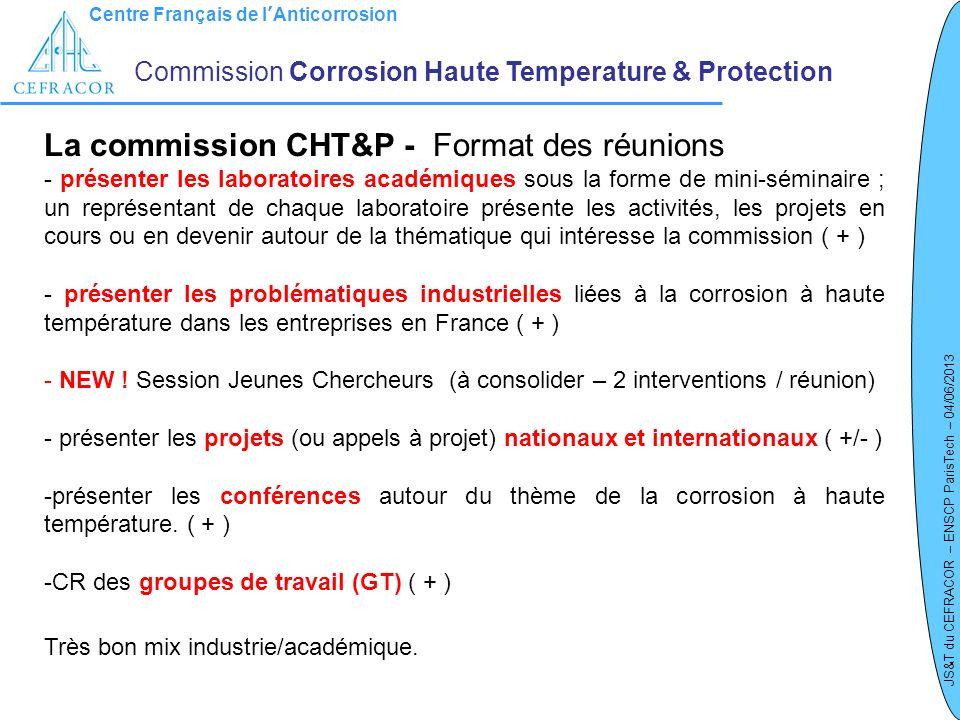 La commission CHT&P - Format des réunions