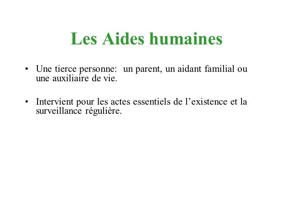 Les Aides humaines Une tierce personne: un parent, un aidant familial ou une auxiliaire de vie.
