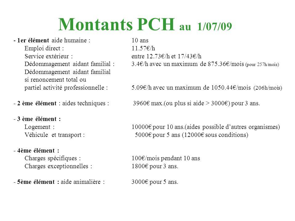Montants PCH au 1/07/09 - 1er élément aide humaine : 10 ans
