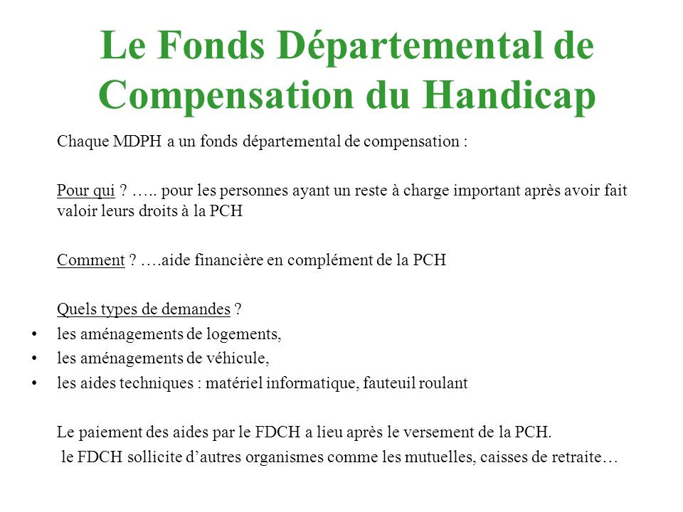 Le Fonds Départemental de Compensation du Handicap