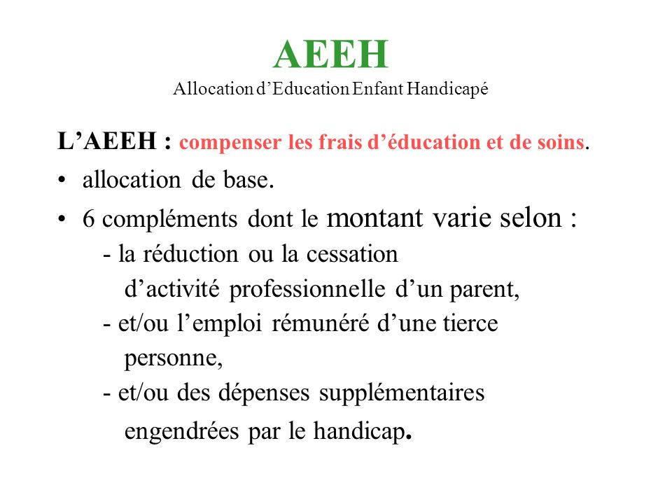 AEEH Allocation d'Education Enfant Handicapé