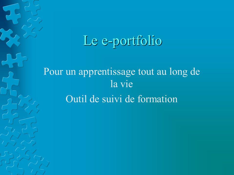 Le e-portfolio Pour un apprentissage tout au long de la vie