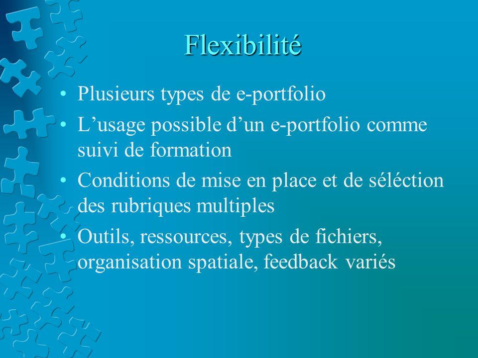 Flexibilité Plusieurs types de e-portfolio