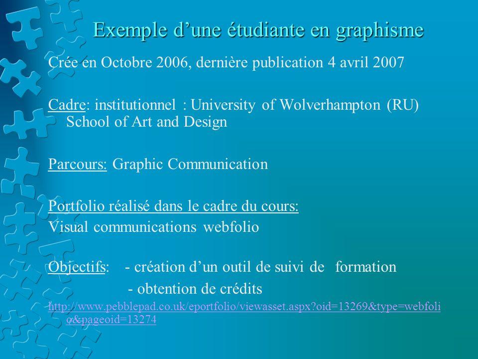 Exemple d'une étudiante en graphisme