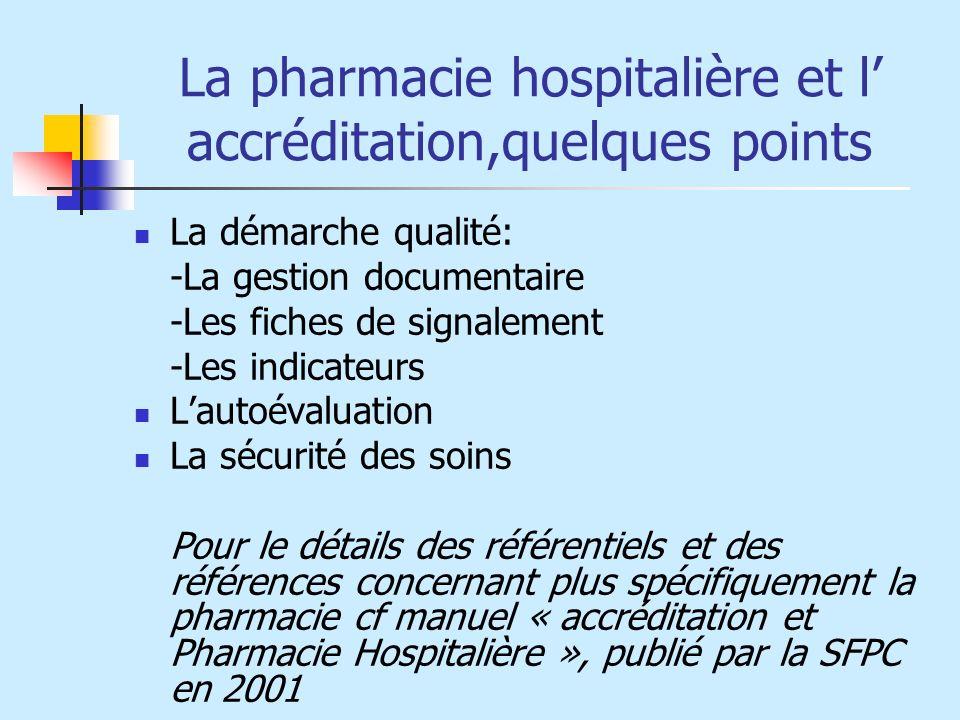 La pharmacie hospitalière et l' accréditation,quelques points