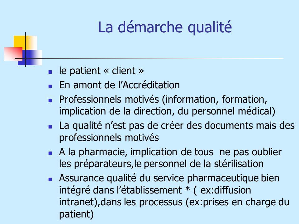 La démarche qualité le patient « client » En amont de l'Accréditation