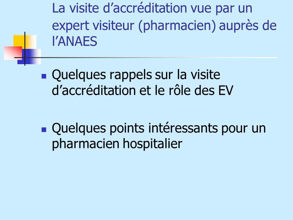 La visite d'accréditation vue par un expert visiteur (pharmacien) auprès de l'ANAES