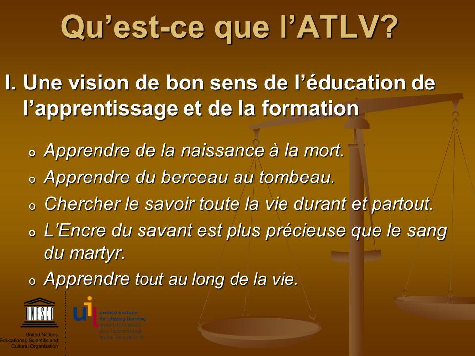 Qu'est-ce que l'ATLV I. Une vision de bon sens de l'éducation de l'apprentissage et de la formation.