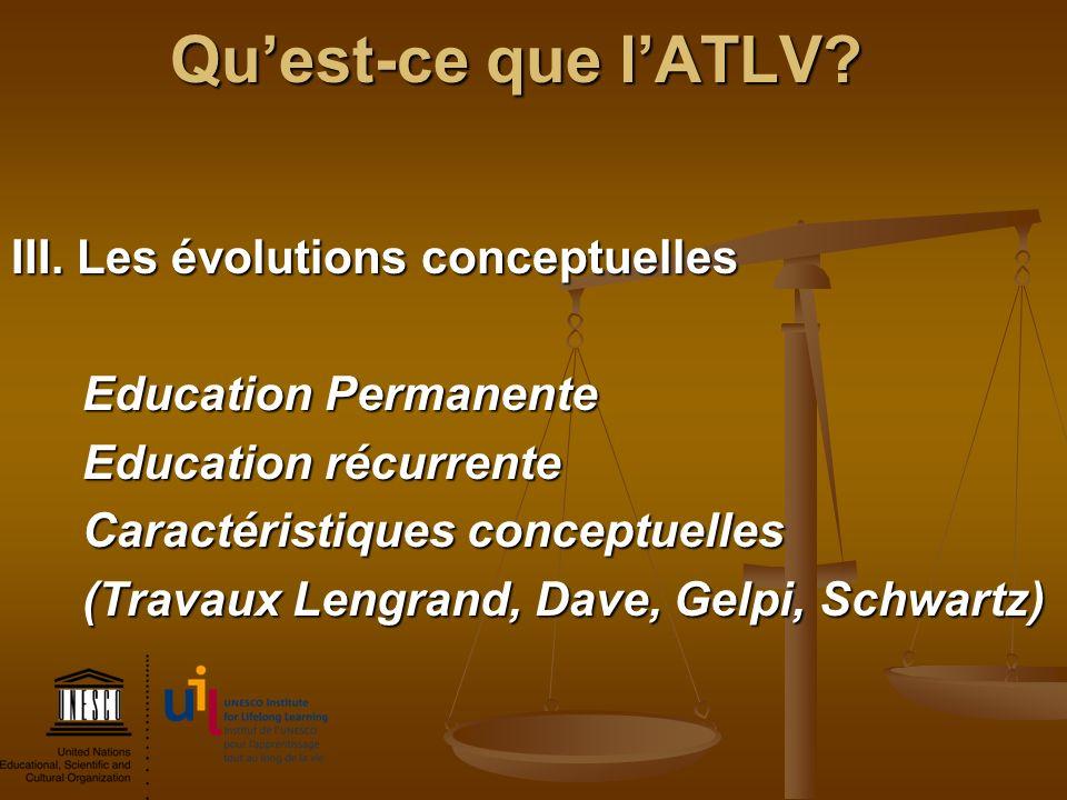 Qu'est-ce que l'ATLV III. Les évolutions conceptuelles