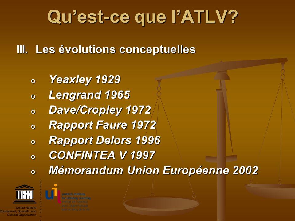 Qu'est-ce que l'ATLV III. Les évolutions conceptuelles Yeaxley 1929