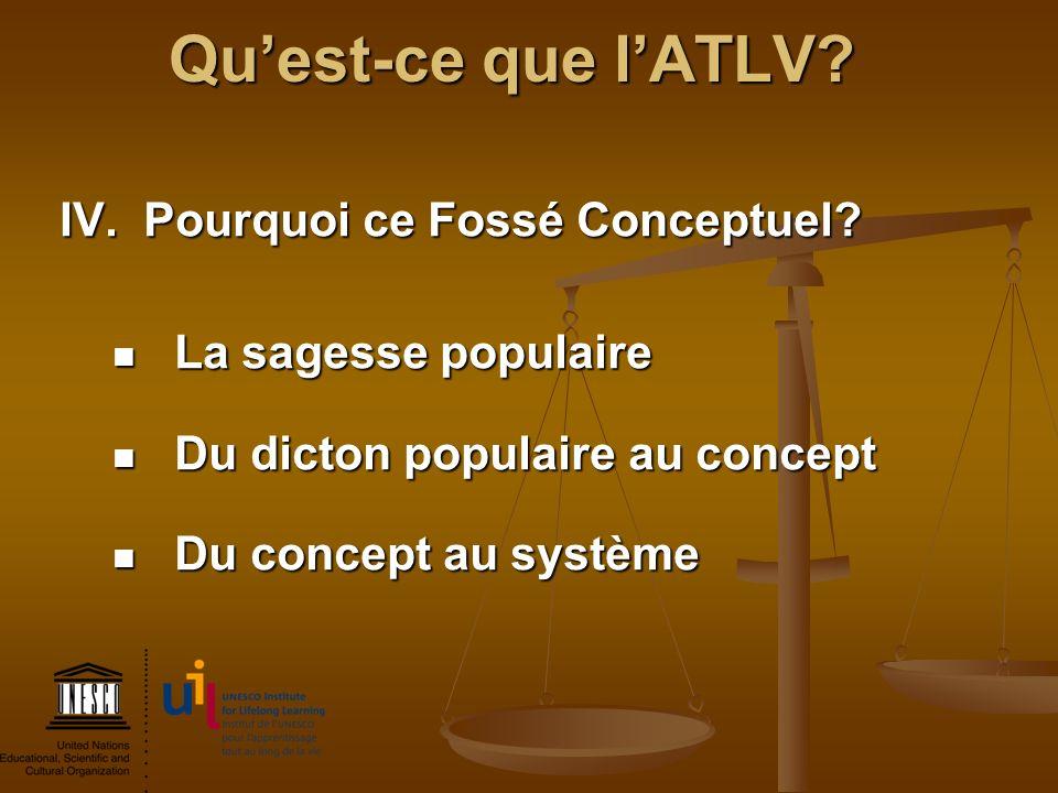 Qu'est-ce que l'ATLV IV. Pourquoi ce Fossé Conceptuel