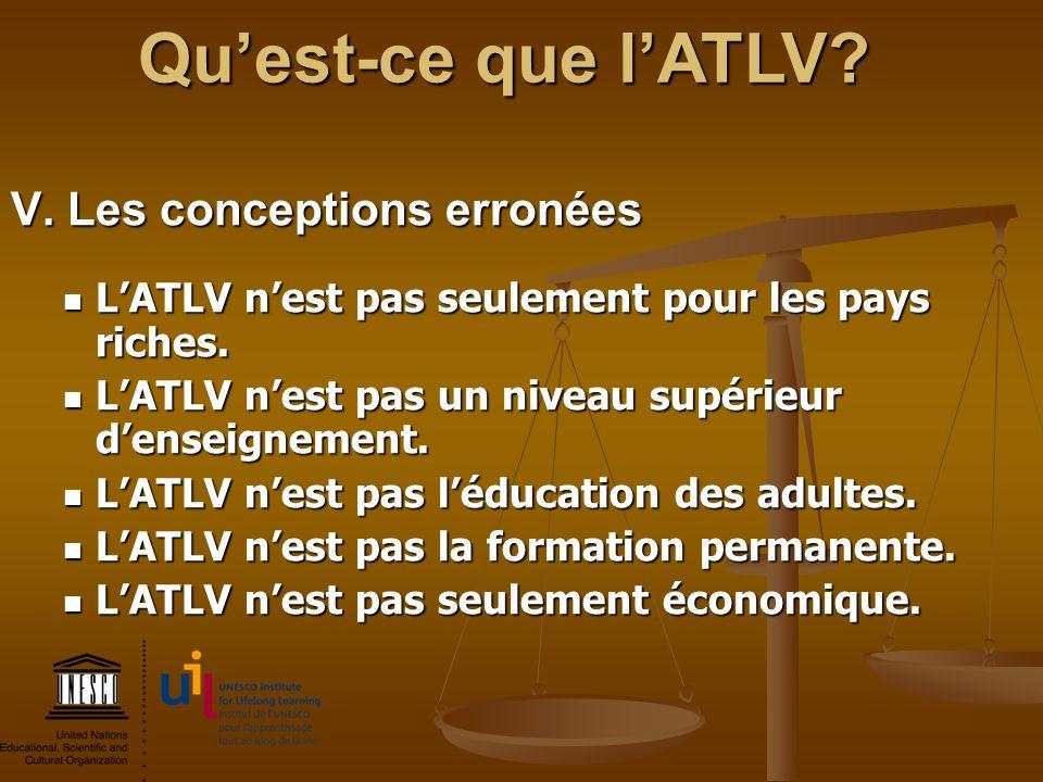 Qu'est-ce que l'ATLV V. Les conceptions erronées