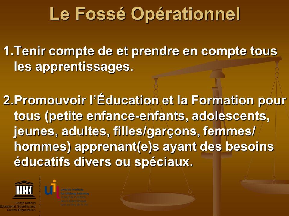 Le Fossé Opérationnel 1. Tenir compte de et prendre en compte tous les apprentissages.