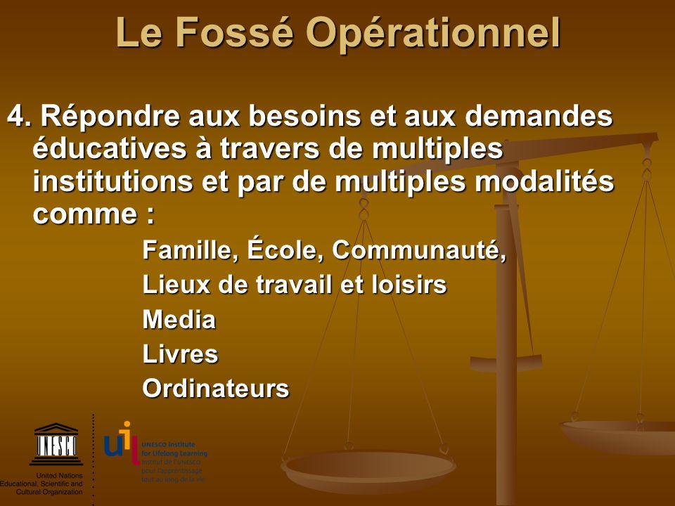 Le Fossé Opérationnel 4. Répondre aux besoins et aux demandes éducatives à travers de multiples institutions et par de multiples modalités comme :