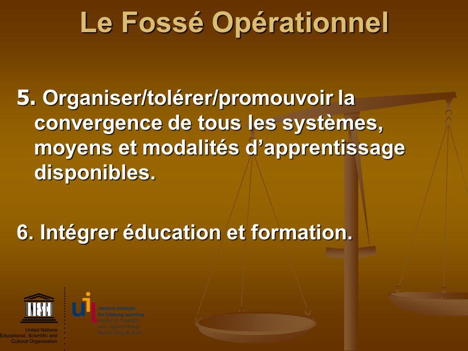 Le Fossé Opérationnel 5. Organiser/tolérer/promouvoir la convergence de tous les systèmes, moyens et modalités d'apprentissage disponibles.