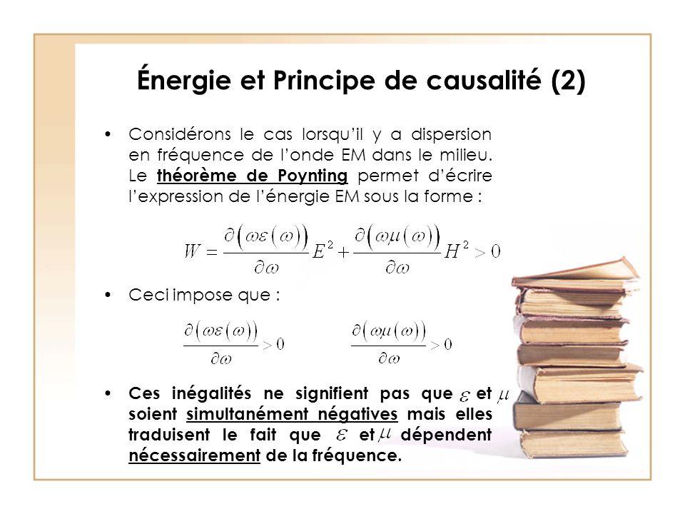 Énergie et Principe de causalité (2)