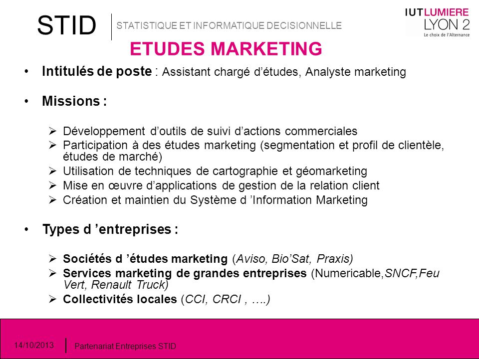 STID STATISTIQUE ET INFORMATIQUE DECISIONNELLE. ETUDES MARKETING. Intitulés de poste : Assistant chargé d'études, Analyste marketing.