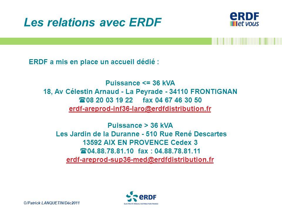 Les relations avec ERDF