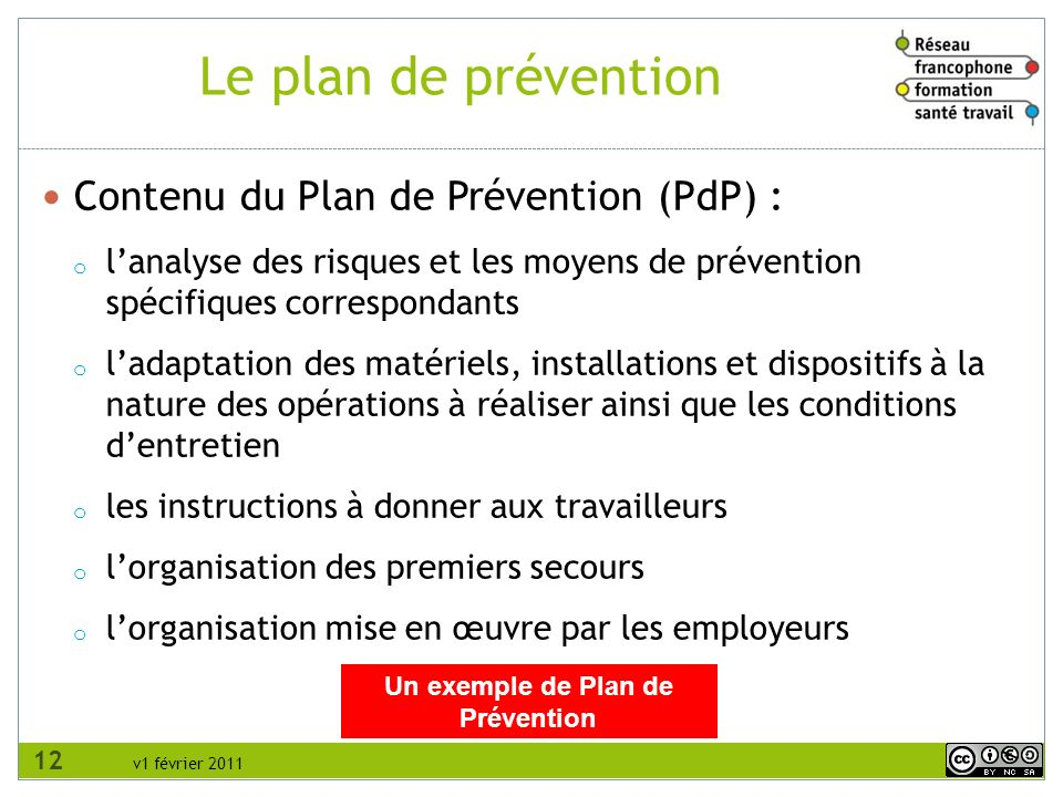 Un exemple de Plan de Prévention