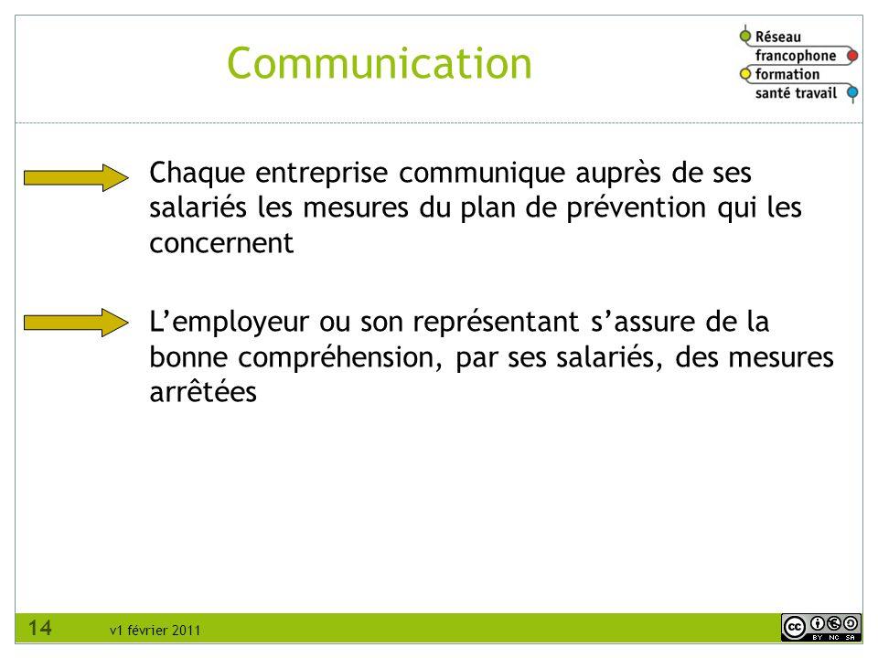 RFFST Avril 2010. Communication. Chaque entreprise communique auprès de ses salariés les mesures du plan de prévention qui les concernent.