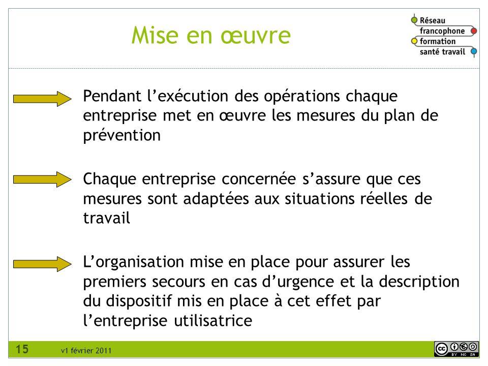 RFFST Avril 2010. Mise en œuvre. Pendant l'exécution des opérations chaque entreprise met en œuvre les mesures du plan de prévention.