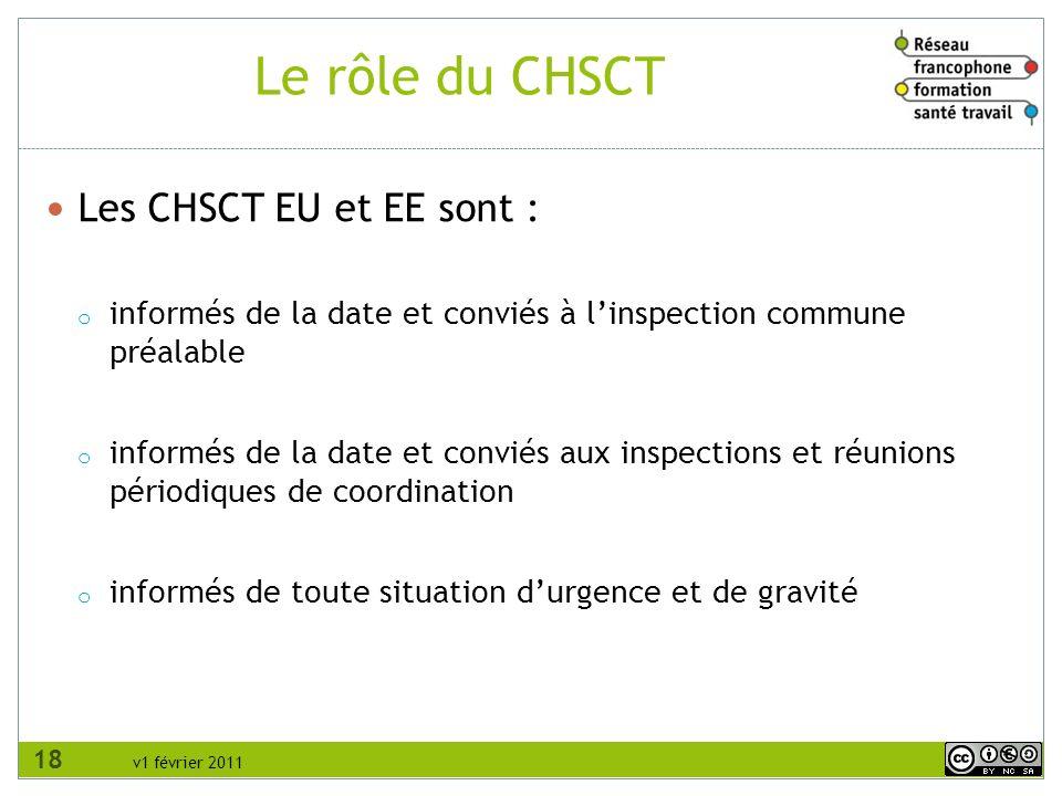 Le rôle du CHSCT Les CHSCT EU et EE sont :
