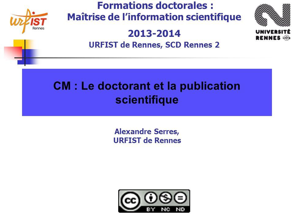 CM : Le doctorant et la publication scientifique