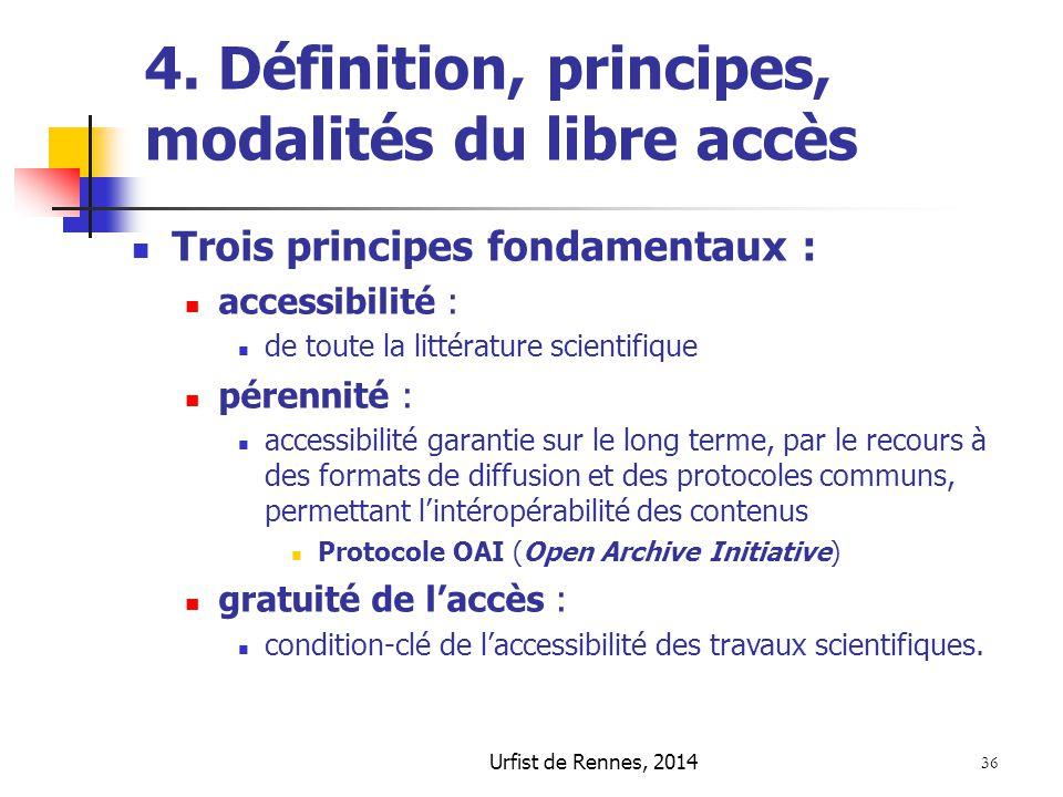 4. Définition, principes, modalités du libre accès