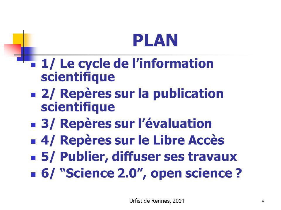 PLAN 1/ Le cycle de l'information scientifique