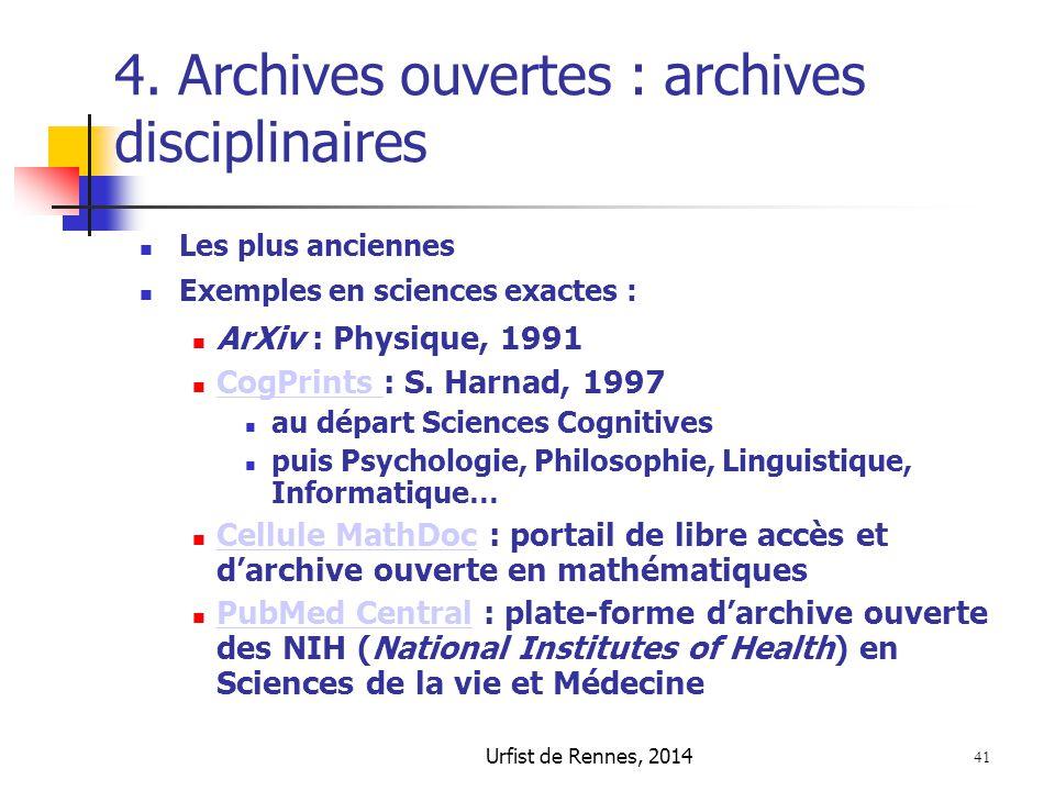 4. Archives ouvertes : archives disciplinaires