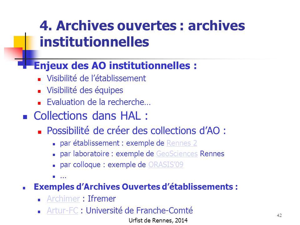 4. Archives ouvertes : archives institutionnelles