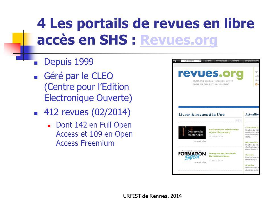 4 Les portails de revues en libre accès en SHS : Revues.org