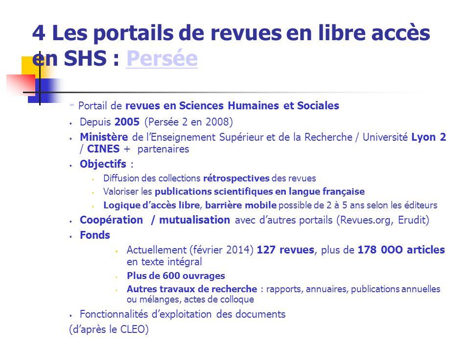 4 Les portails de revues en libre accès en SHS : Persée
