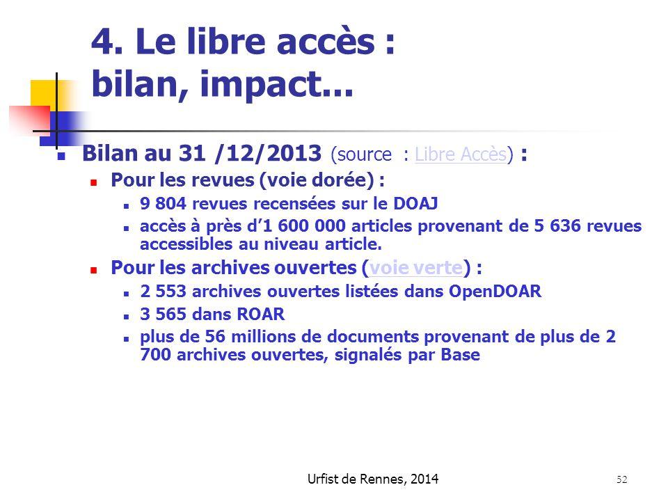 4. Le libre accès : bilan, impact...