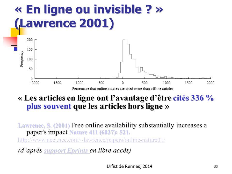 « En ligne ou invisible » (Lawrence 2001)