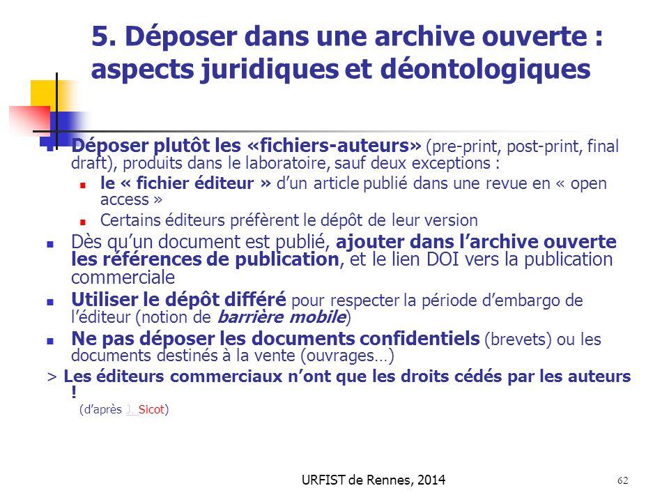 5. Déposer dans une archive ouverte : aspects juridiques et déontologiques