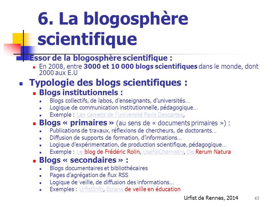 6. La blogosphère scientifique