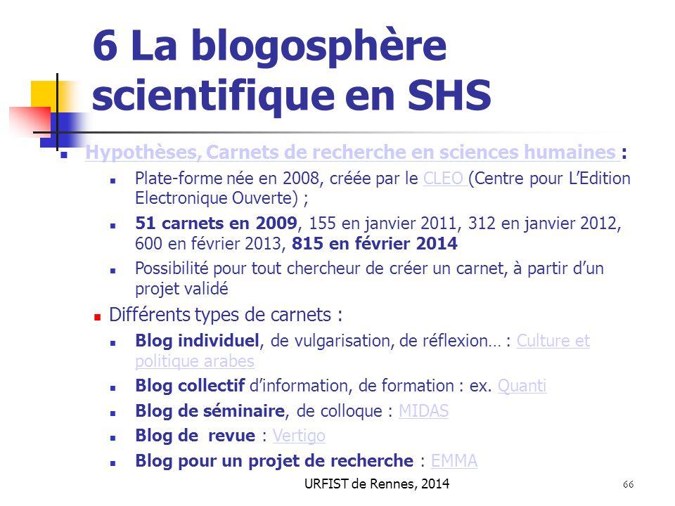 6 La blogosphère scientifique en SHS