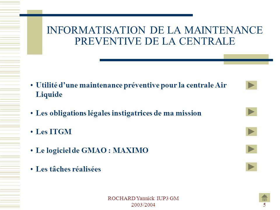 INFORMATISATION DE LA MAINTENANCE PREVENTIVE DE LA CENTRALE