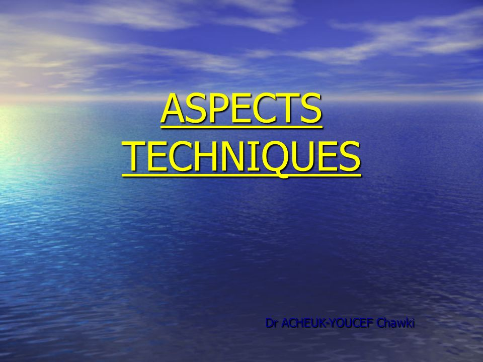 ASPECTS TECHNIQUES Dr ACHEUK-YOUCEF Chawki