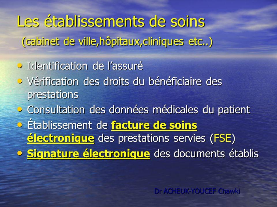Les établissements de soins (cabinet de ville,hôpitaux,cliniques etc..)