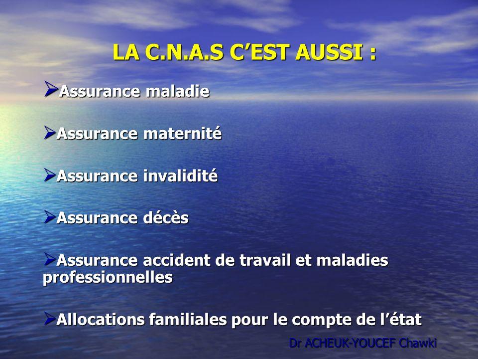 LA C.N.A.S C'EST AUSSI : Assurance maladie Assurance maternité