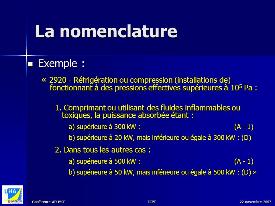 La nomenclature Exemple :
