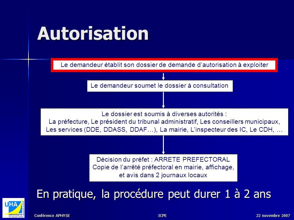 Autorisation En pratique, la procédure peut durer 1 à 2 ans
