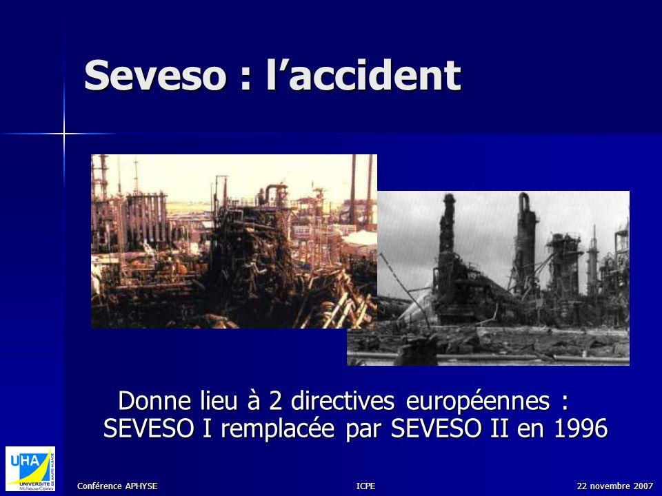 Seveso : l'accident SANDRA. Donne lieu à 2 directives européennes : SEVESO I remplacée par SEVESO II en 1996.