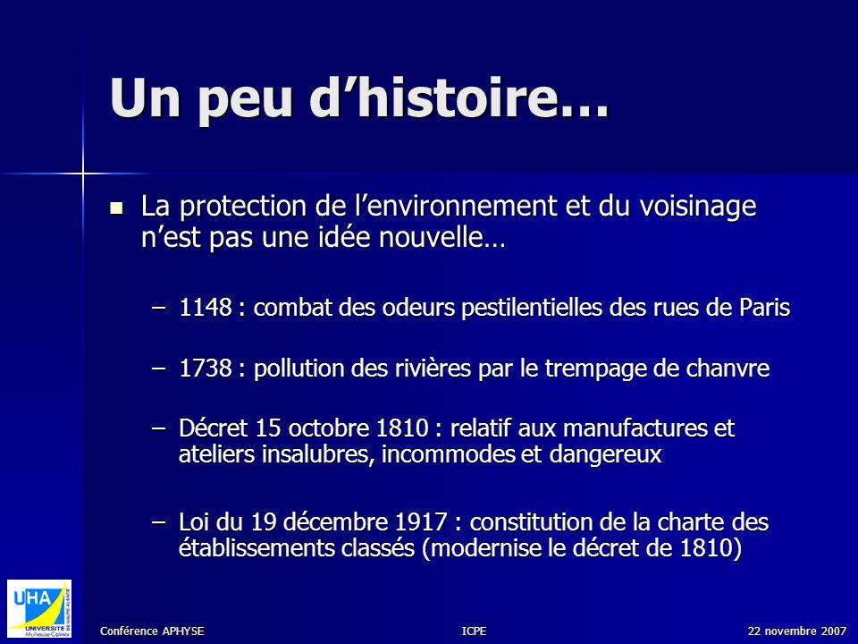 Un peu d'histoire… La protection de l'environnement et du voisinage n'est pas une idée nouvelle…