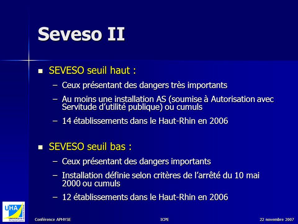 Seveso II SEVESO seuil haut : SEVESO seuil bas :