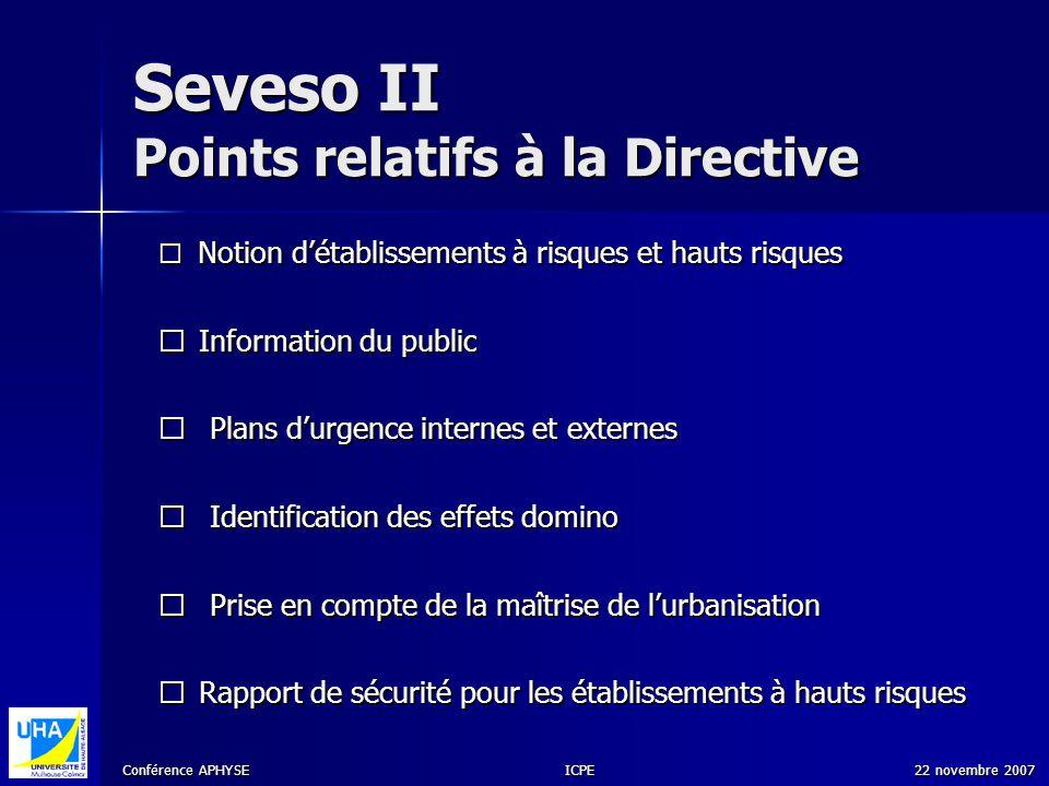 Seveso II Points relatifs à la Directive